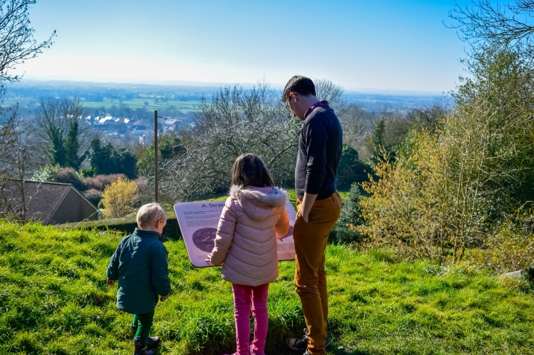 A photograph of a father, daughter and son at the Sutton Valence ruins near Maidstone - Finding Happiness and Chasing Rainbows - February 2019 - Mrs H's favourite things