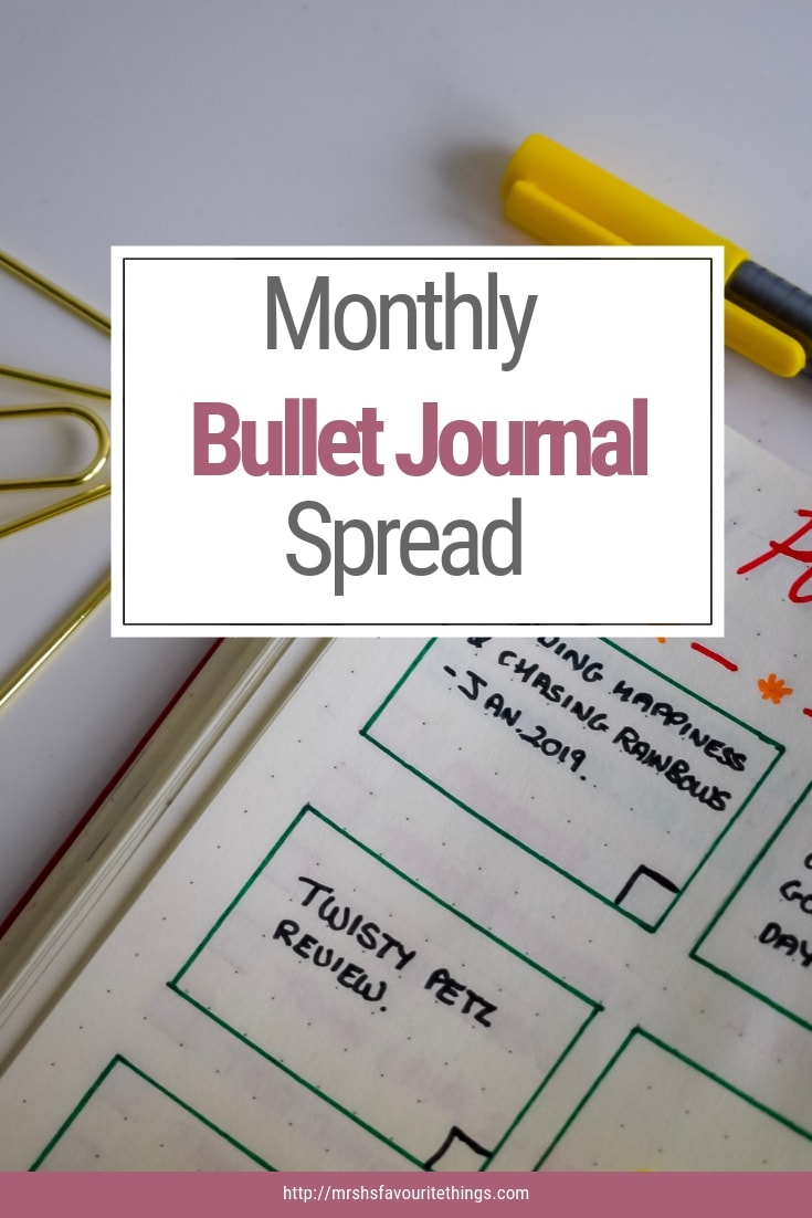 A pinnable photograph showing the monthly set-up of my bullet journal - My Monthly Bullet Journal Set-up - Mrs H's favourite things