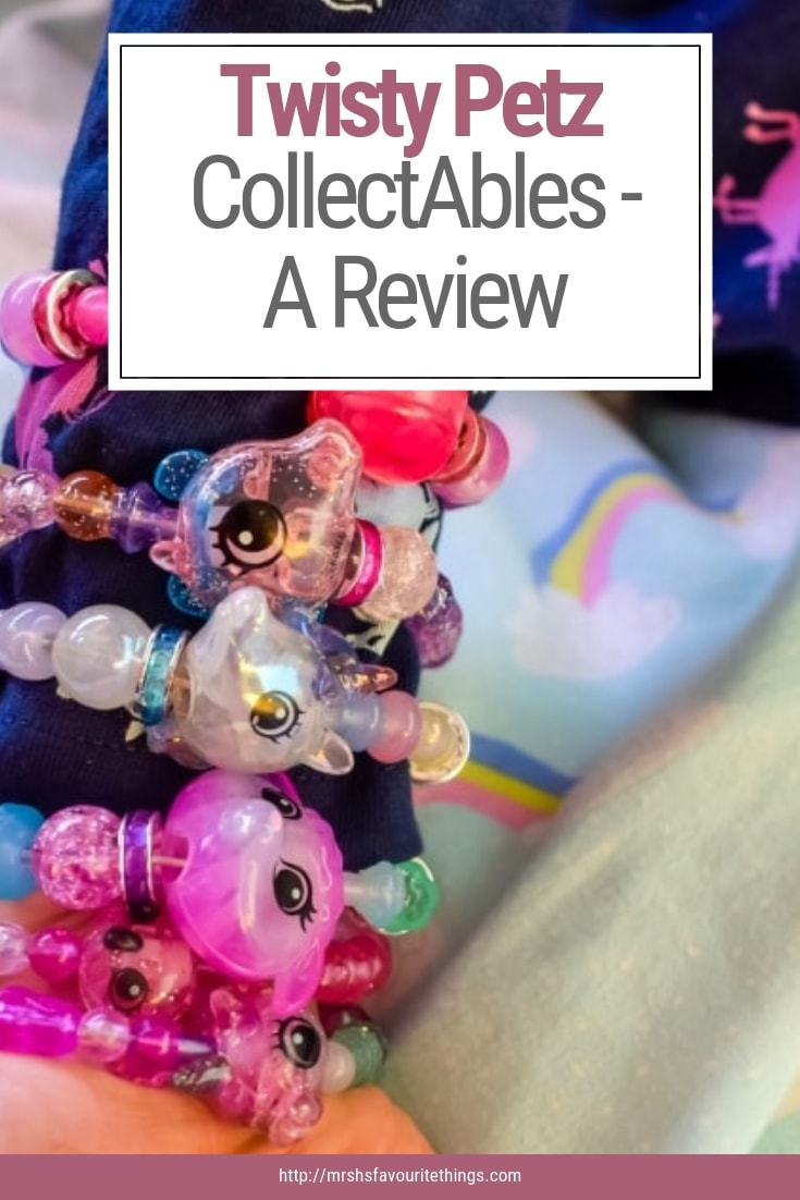 """A pinnable image with a photograph of a little girl wearing her Twisty Petz as bracelets with the text """"Twisty Petz CollectAbles - A Review"""" - Twisty Petz CollectAbles From Spin Master - A Review - Mrs H's favourite things"""