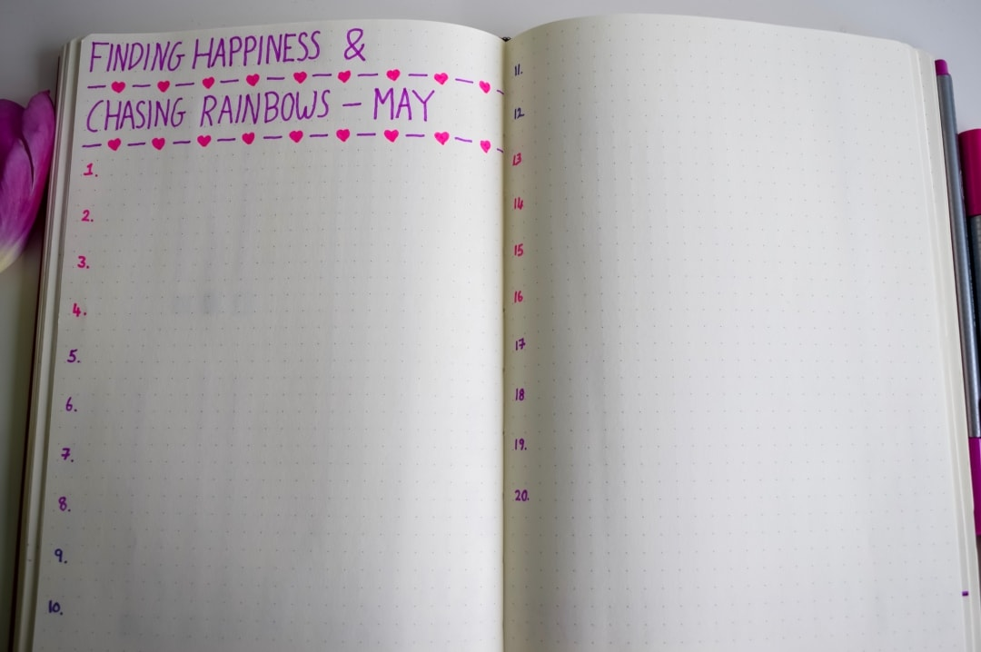 A photograph of a gratitude list called Finding Happiness and Chasing Rainbows recorded in a bullet journal - Bullet Journal Monthly Set-Up For May - Mrs H's favourite things