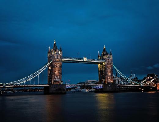 A photograph of Tower Bridge in London at night - The First-Timer's Guide For Travelling To London _ Mrs H's favourite things