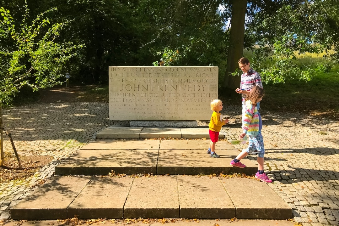 A photograph of a father, his son and his daughter standing in front of the John F Kennedy Memorial at Runnymede - Snapshots Of Our Summer - Mrs H's favourite things
