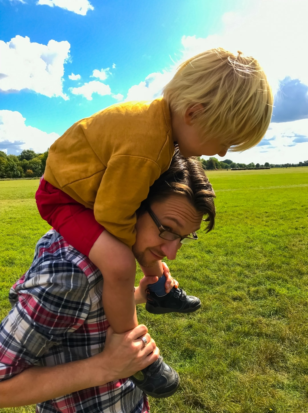 A photograph of a father and a son at Runnymede - Snapshots Of Our Summer - Mrs H's favourite things