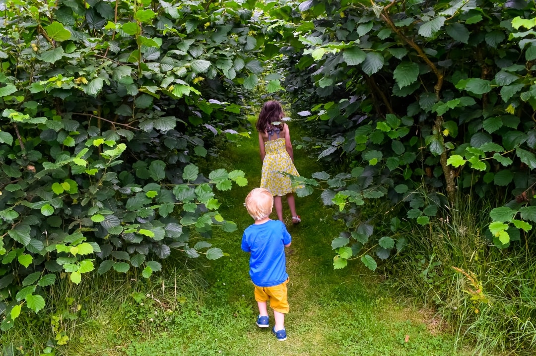 A photograph of a little girl and little boy hiding in a hedge at Smallhythe Place - Snapshots Of Our Summer - Mrs H's favourite things