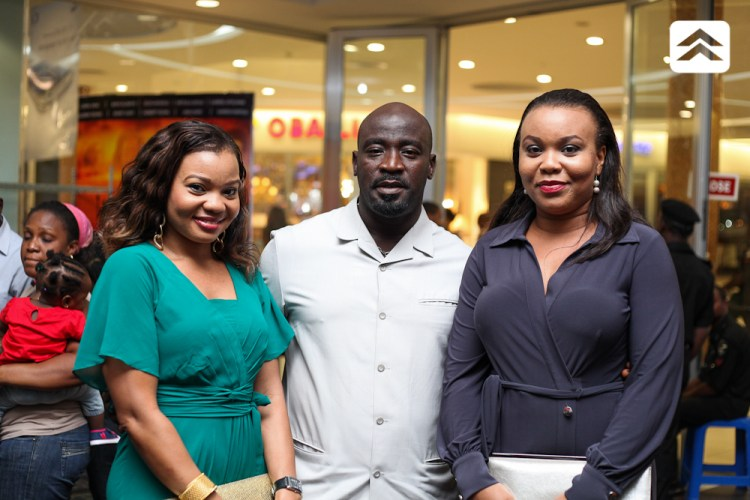 Femi Ogedengbe and guests at The Courier movie premiere