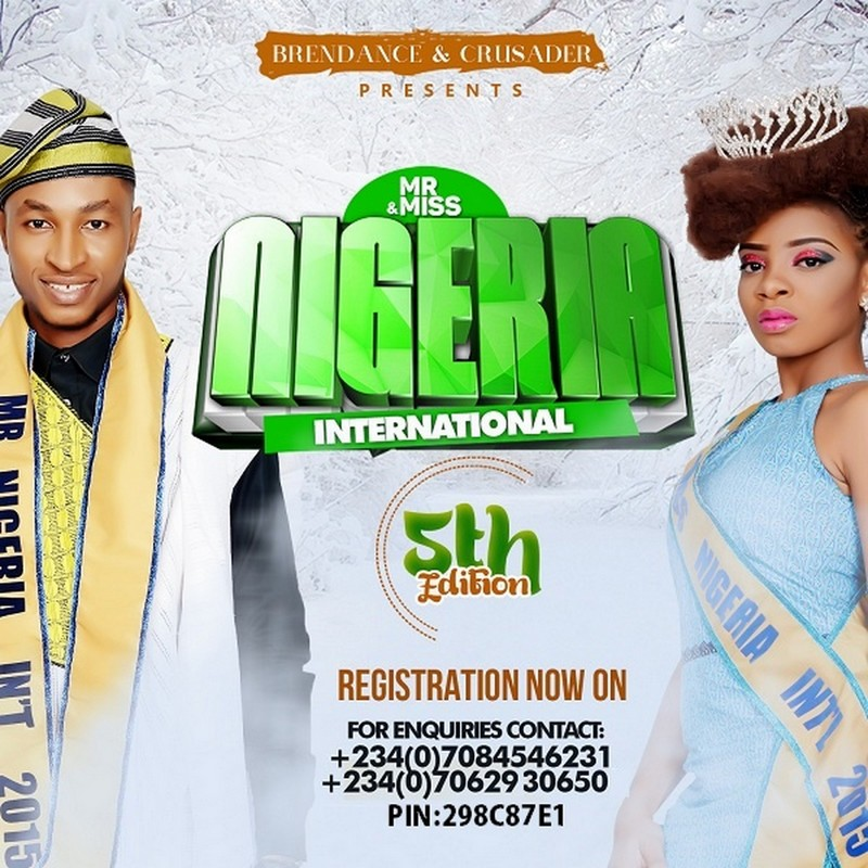 MH NEWS: REGISTRATION FOR MR AND MISS NIGERIA INTERNATIONAL 2016 IS NOW OPEN