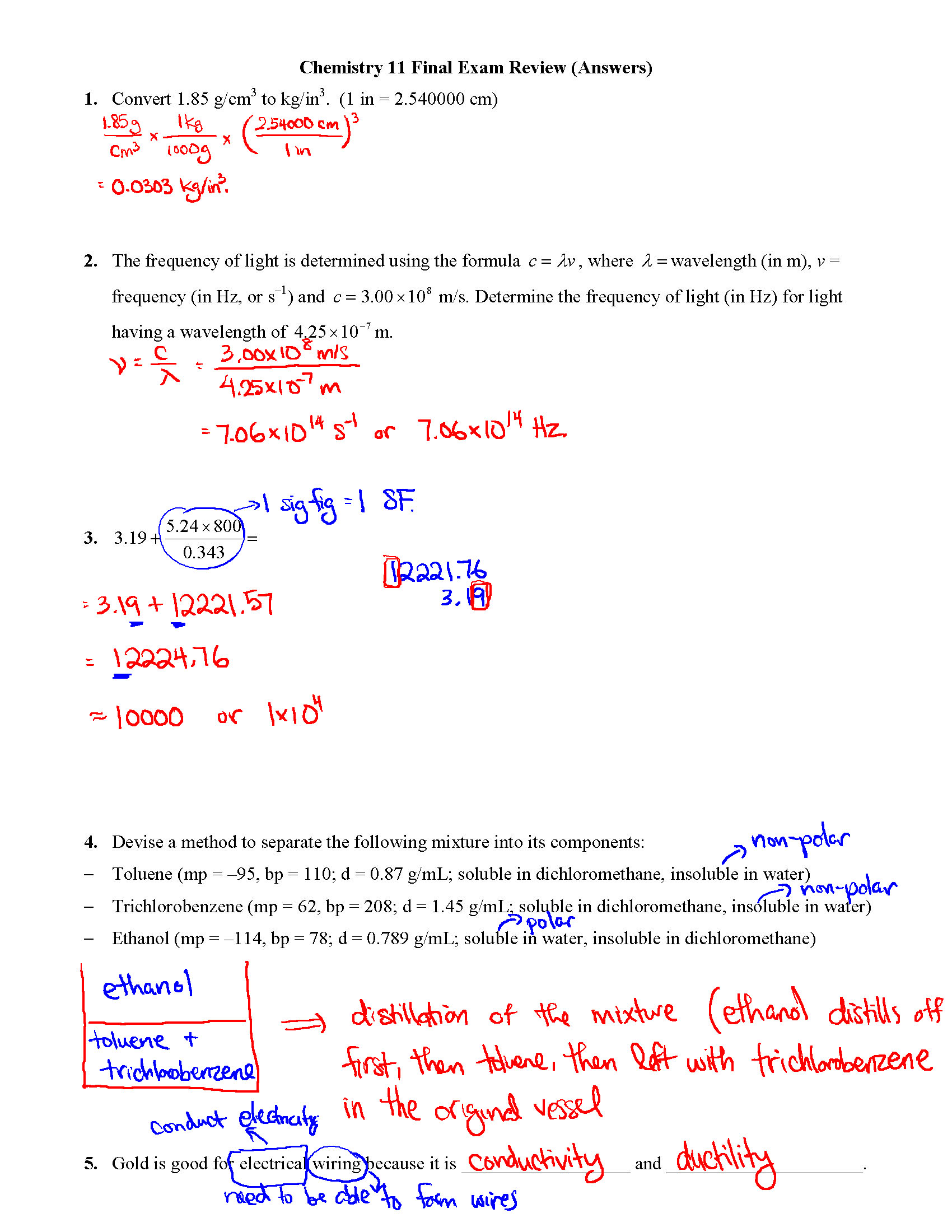 Chem 11 Final Exam Review Answers