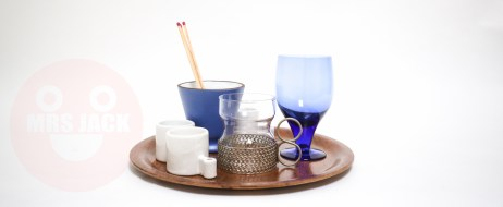 Tray Candles and Blue