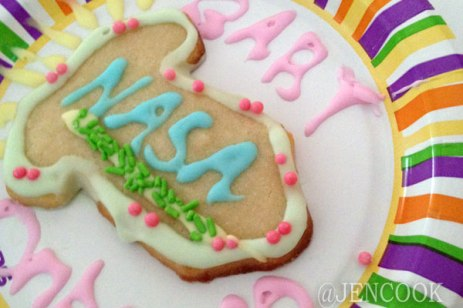 Decorated baby shower cookies.