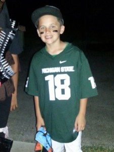 Brendan as Connor Cook (Michigan State quarterback) for Halloween.