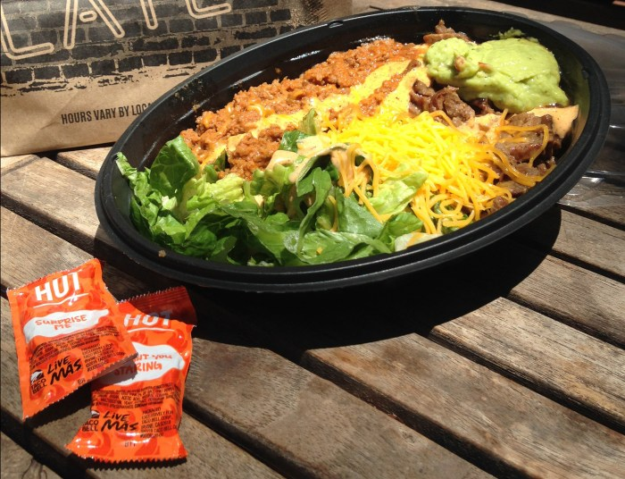 My low carb Taco Bell Power Menu Steak Bowl.
