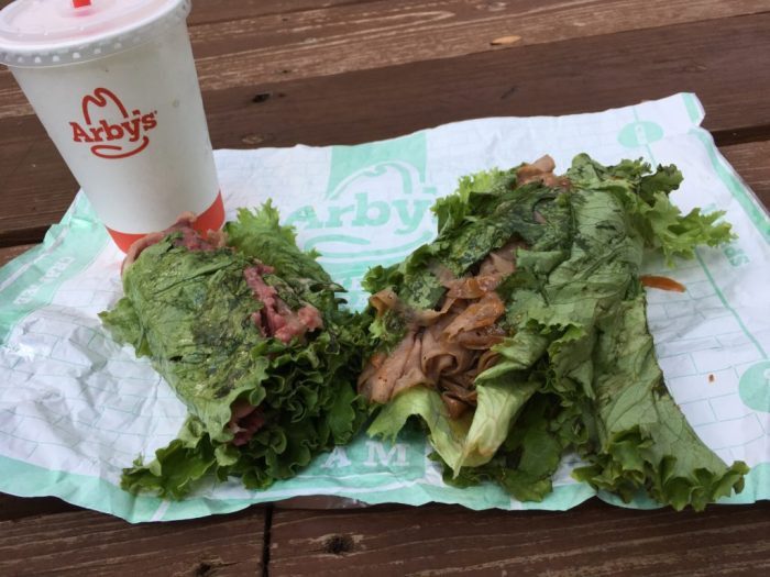 Two low carb and keto friendly lettuce wrapped sandwiches from Arby's.
