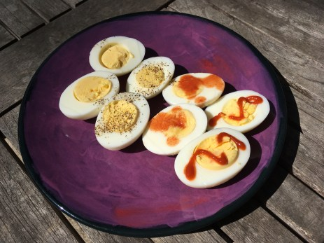 Keto Hard Boiled Eggs Plated