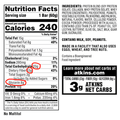 how to find net carbs on a label