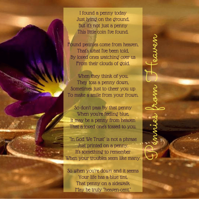 "Poem ""Pennies from Heaven"" to Share When Someone Is Grieving"