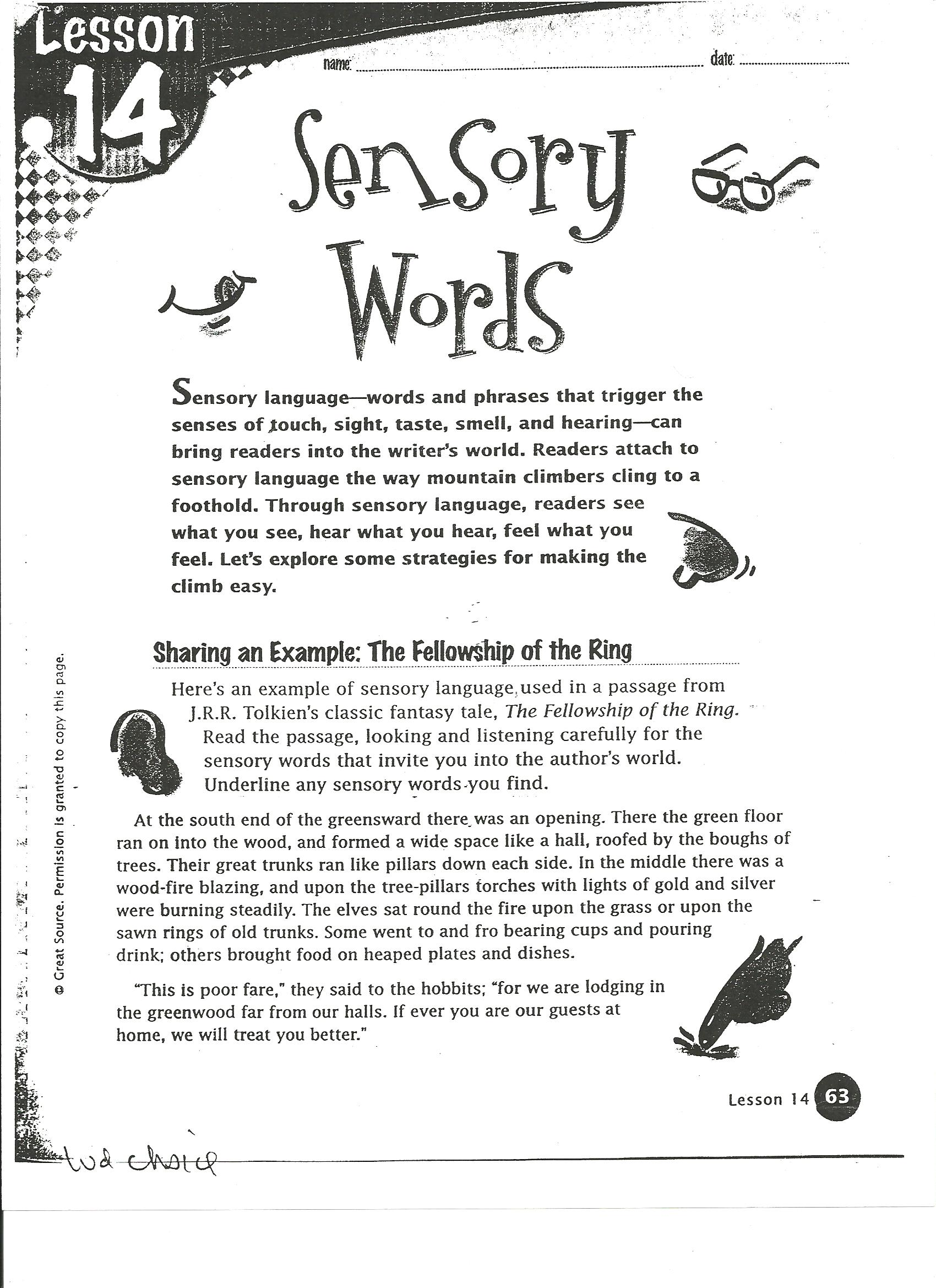 Collection Of Sensory Words Worksheet