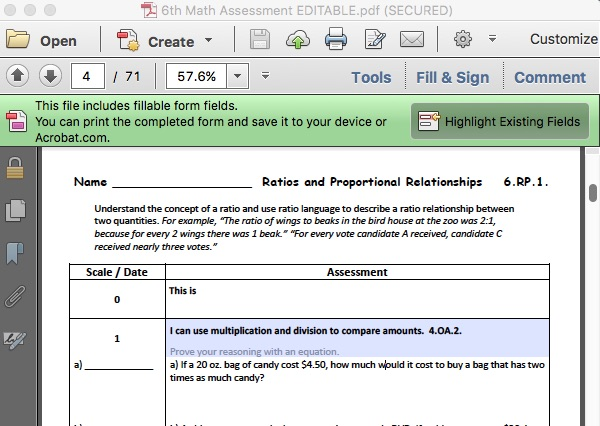 6th Editable Math Assess Example 2