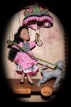 French Girl Dog Umbrella