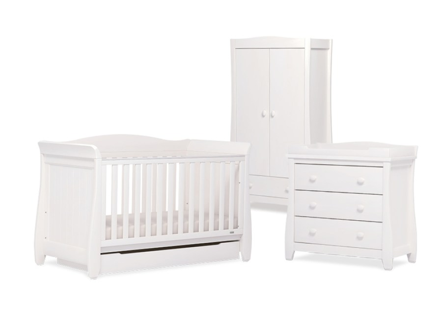Urbane Sleigh Cot Bed in White nursery