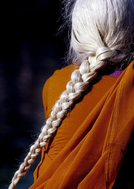 Braided white hair looks amazing.
