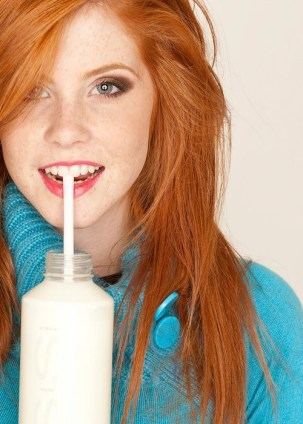 redhead drinking milk