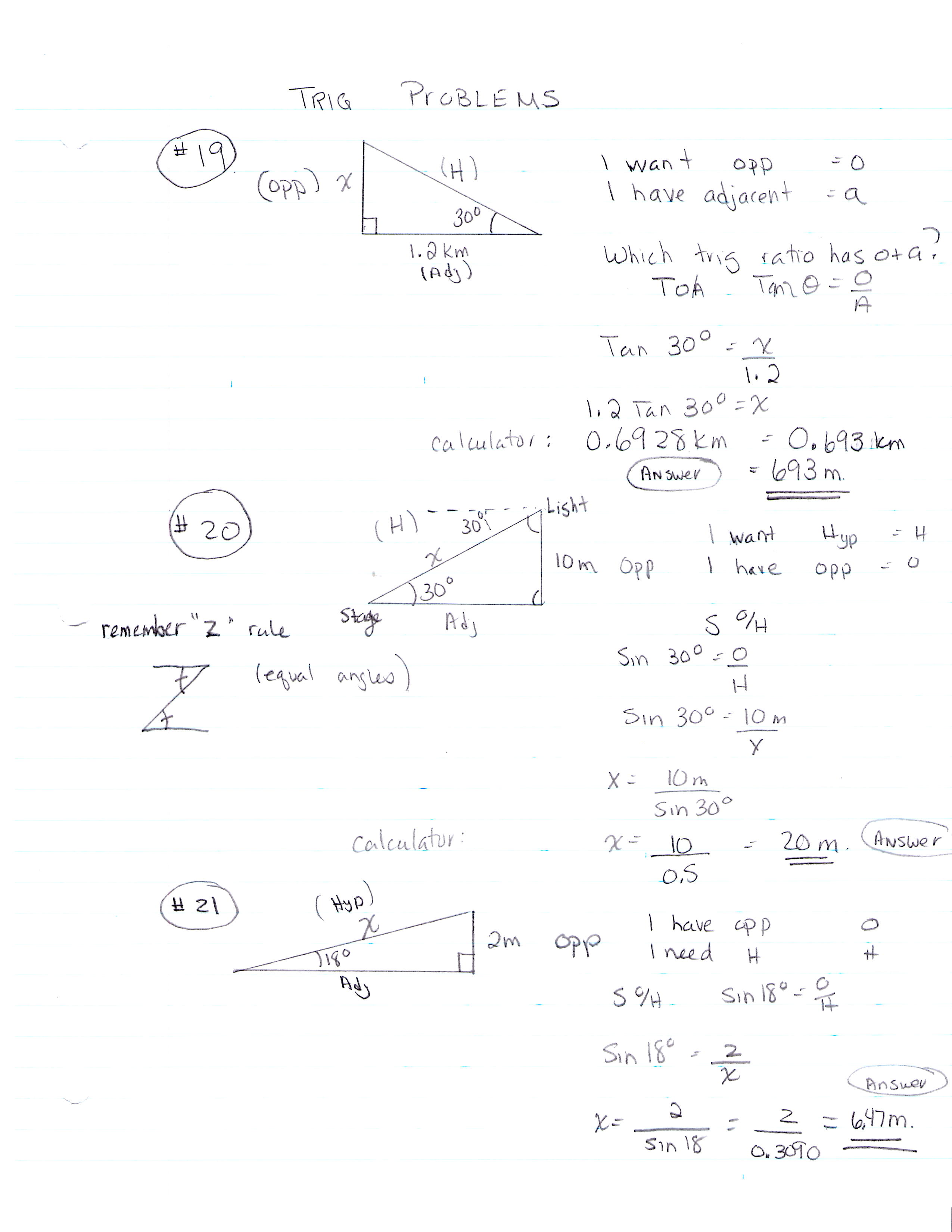 Trig Ratios Worksheet Math 4 Answers