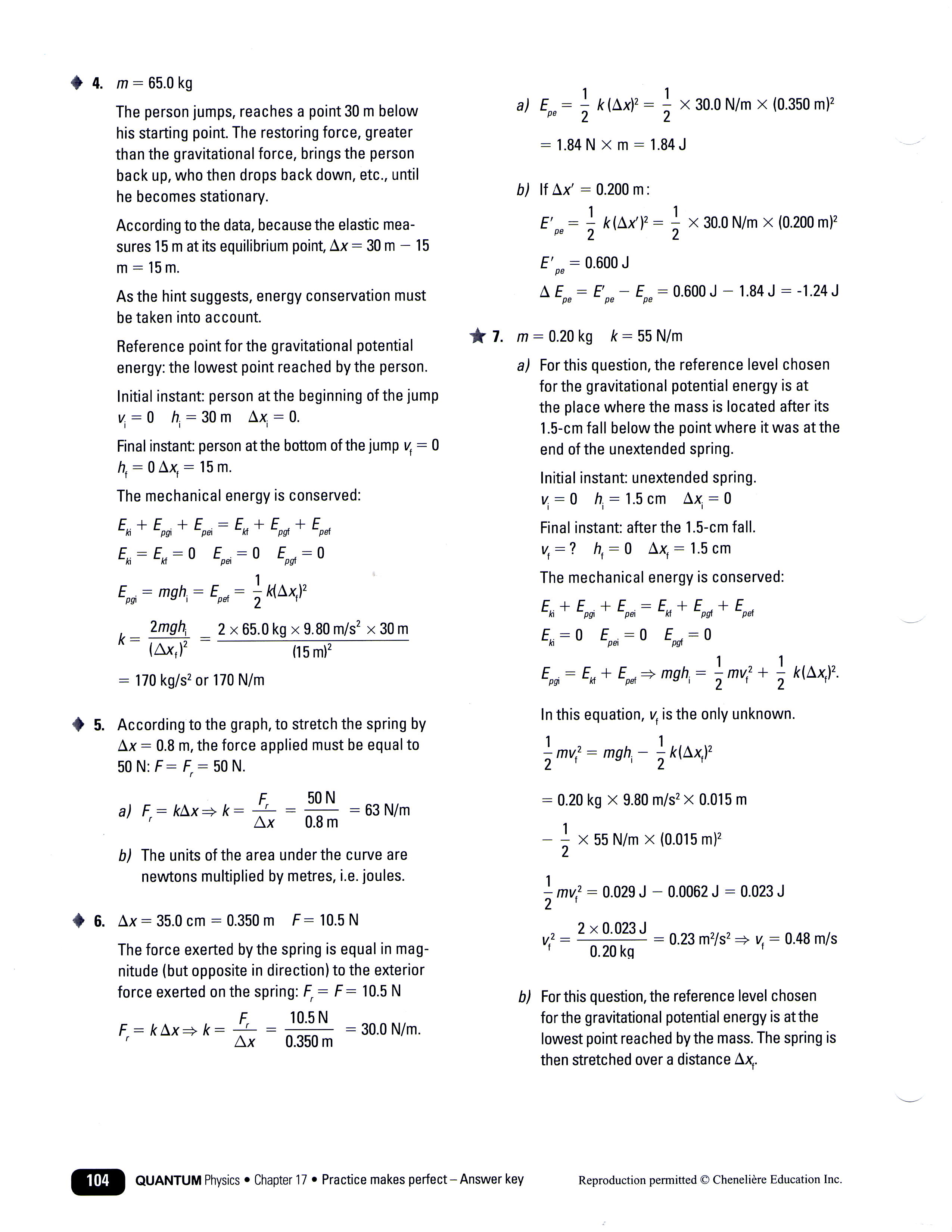 New Elastic Potential Energy Problems With Answers