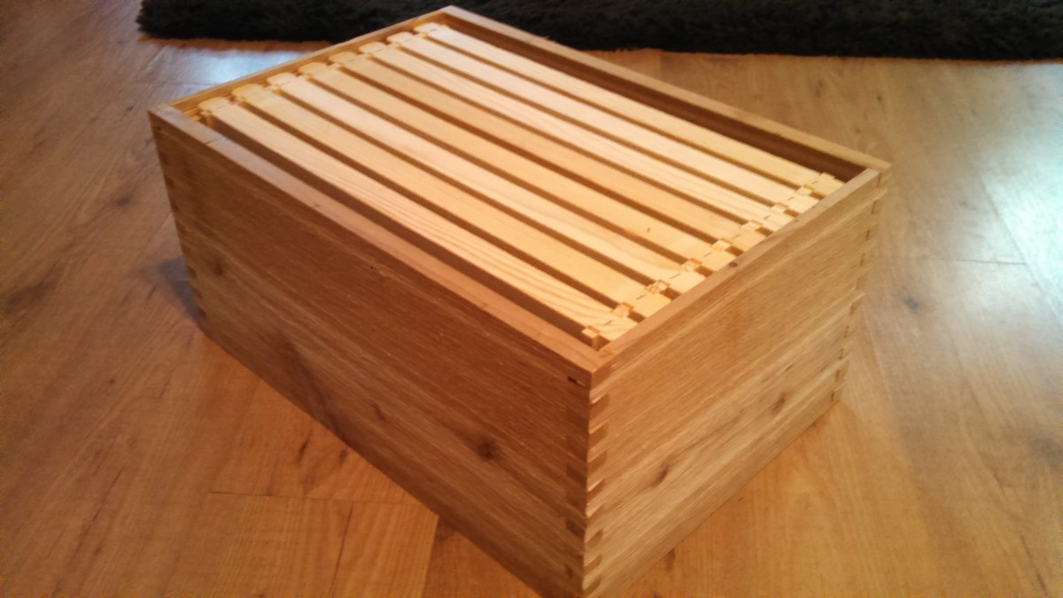 Homemade Langstroth style bee hive with frames