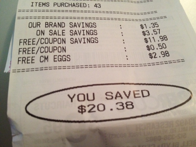 Photo of a receipt showing coupon savings