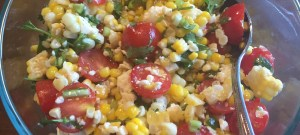 Fresh summer corn and tomato salad is great for Weight Watchers.