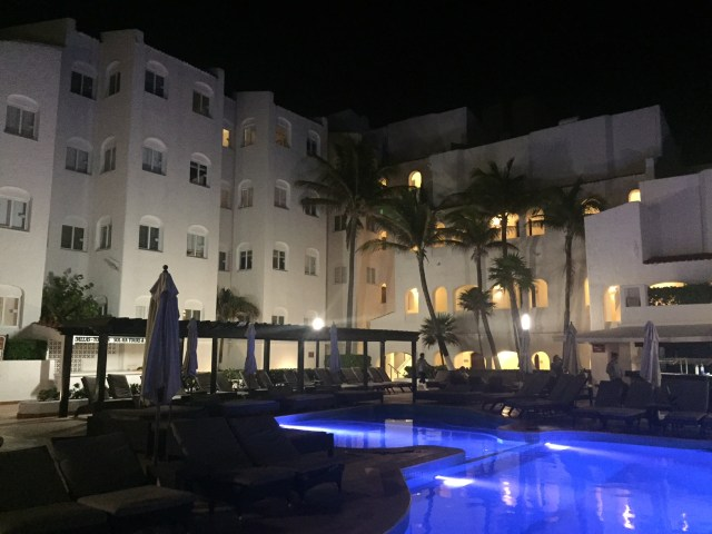 The pool at night in our all inclusive resort in Cancun