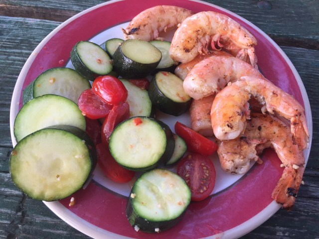 Weight Watchers Friendly Camping meals: Shrimp & Vegetables