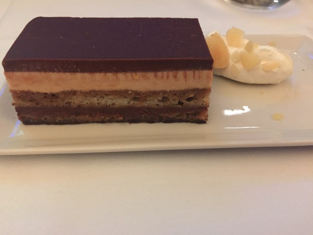 Opera Cake on Singapore Airlines IAH to MAN