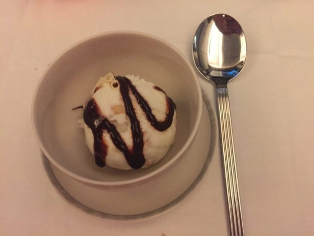 Macadamia Ice Cream with Chocolate Drizzle on Singapore Airlines IAH to MAN