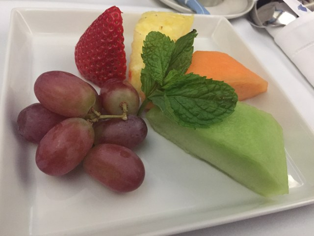 Breakfast Fruit Plate on Singapore Airlines IAH to MAN