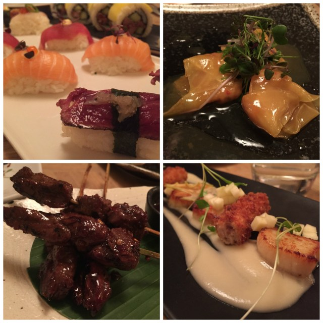 Dinner at Australasia in Manchester, from top L, clockwise: sushi nigiri, pork wontons, hand dived scallops, and Cambodian beef skewers