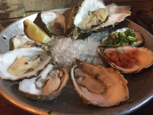 The raw oyster varietals at Klaw, which tasted brinier than U.S. Gulf oysters.