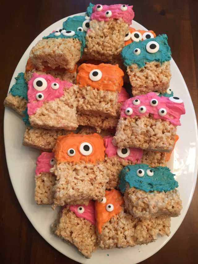 These were so easy - just dip Rice Krispies in Candy Melts and then add edible eyes.