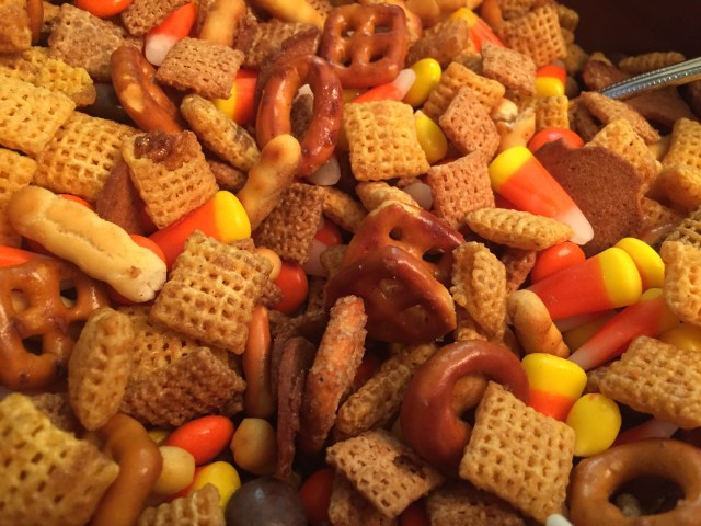 Halloween trail mix: take toasted, buttered Chex Mix and add Reese's Pieces and Candy Corn!