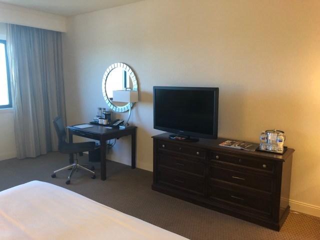Our standard King room at the Wyndham Riverwalk hotel in San Antonio.