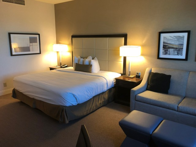 A standard King room in the Wyndham San Antonio Riverwalk hotel.