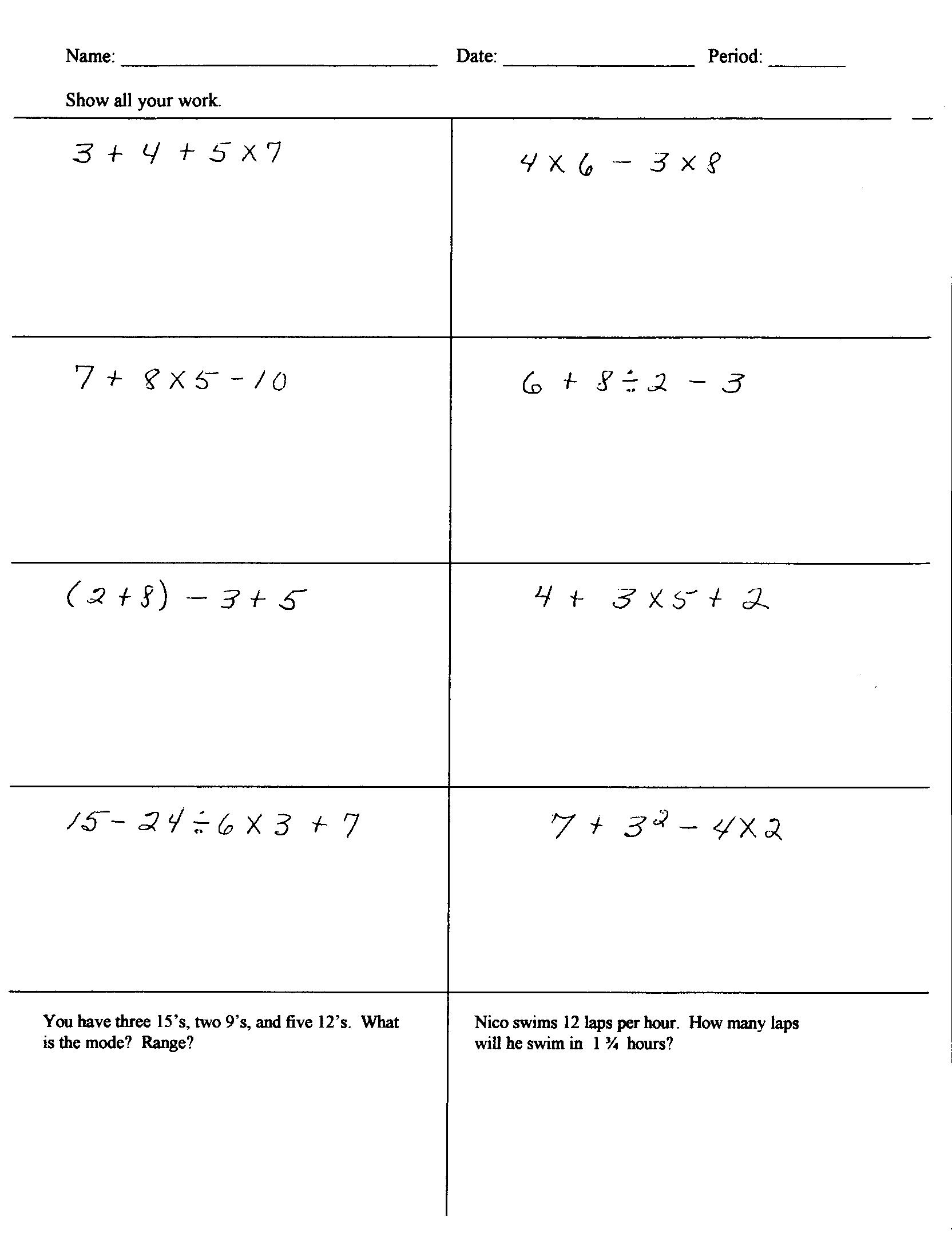 Worksheet 5th Grade Math Order Of Operations Worksheet