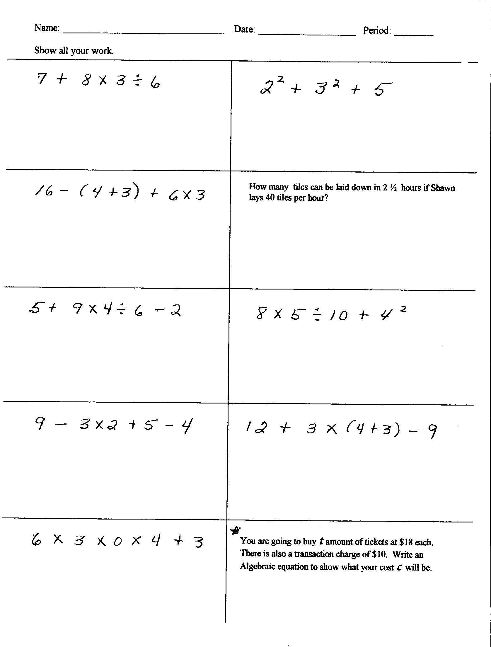 Hard 6th Grade Math Worksheets