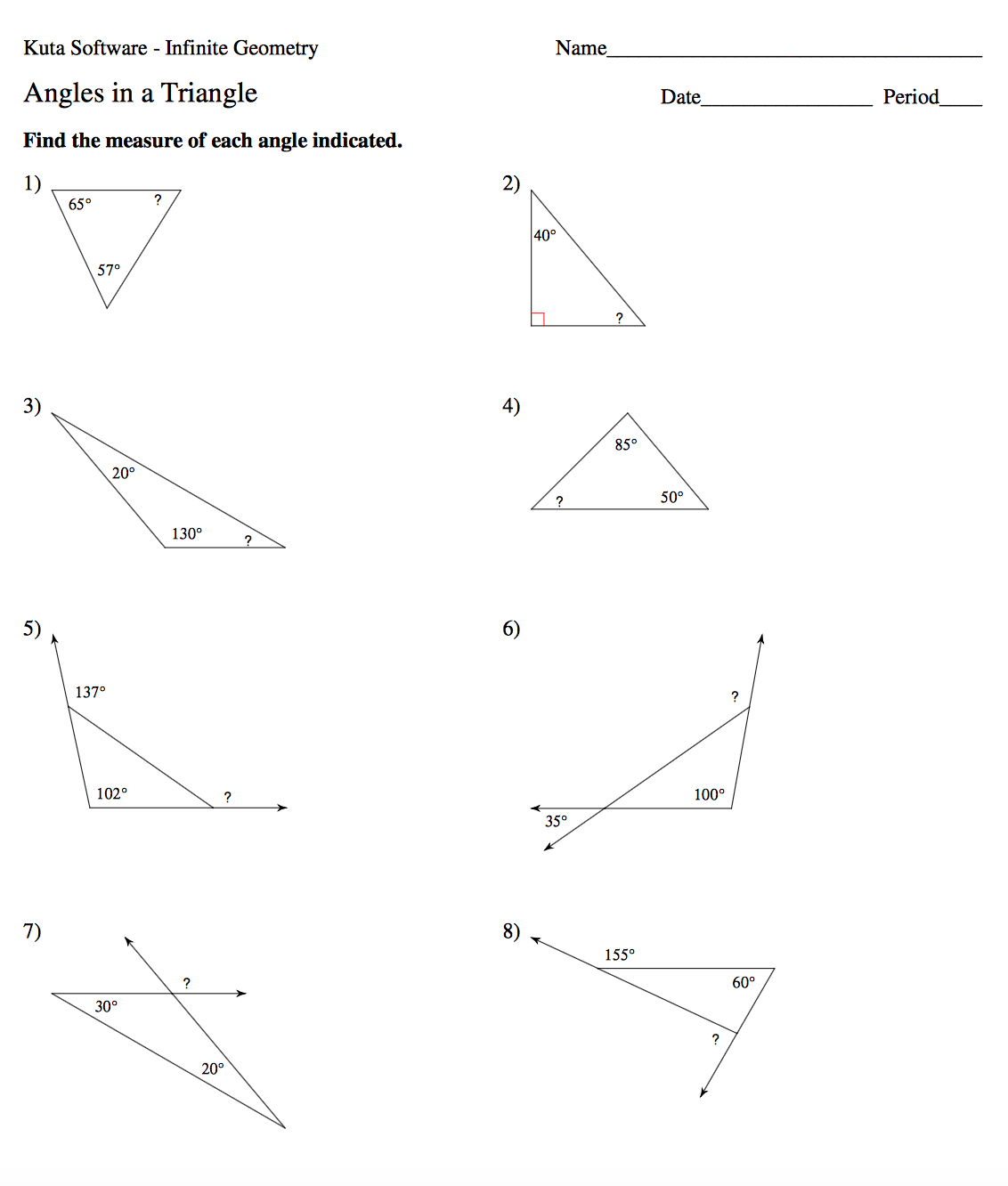 34 Triangle Interior Angles Worksheet Answers