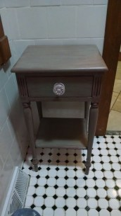 accent table in place in a bathroom