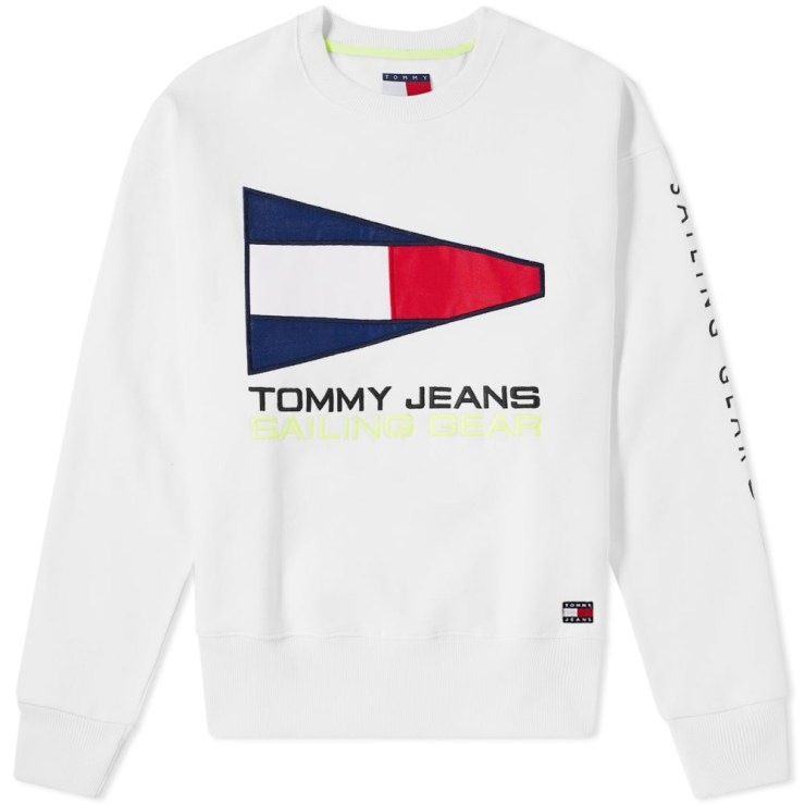 Tommy Jeans Sailing Logo Crewneck in White