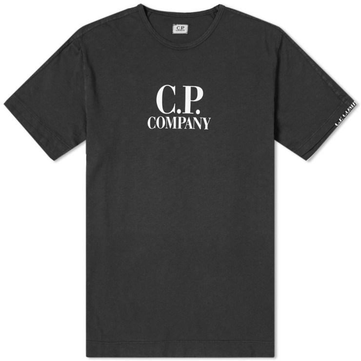C.P. Company Logo Print Slub T-Shirt in Black