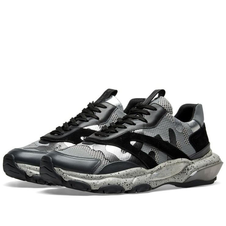 Valentino Bounce Camo Oversized Runners in Black and Silver