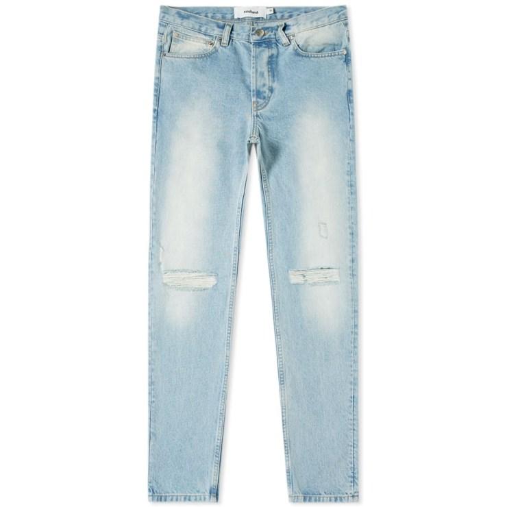 Soulland Erik Distressed Jeans in Vintage Blue
