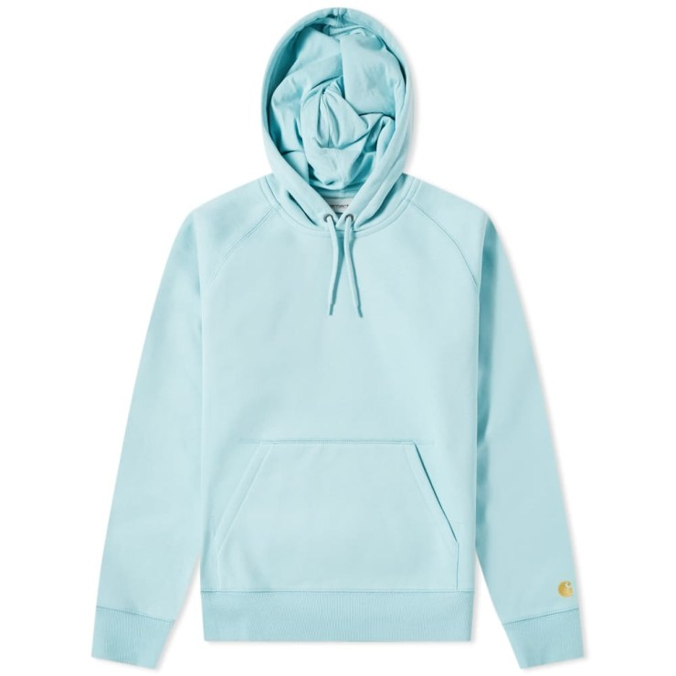 Carhartt WIP Chase Hooded Sweater in Soft Aloe Baby Blue